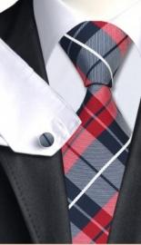 Stropdas set met manchetknopen en pochet Blauw rood geruit