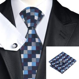 Stopdas set met pochet en manchetknopen blauw, grijs geblokt