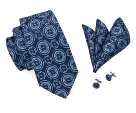 Stropdas set Circle Flower blauw