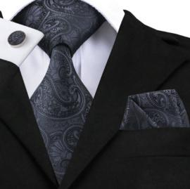 Stropdas met pochet en manchetknopen zwart paisley