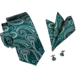 Stropdas met pochet en manchetknopen paisley groen blauw