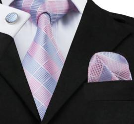 Stropdas set roze lichtblauw