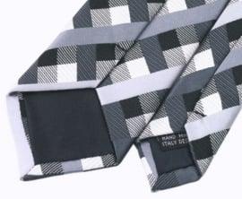 Slimfit stropdas Black Grey Square
