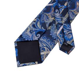 Stropdas met pochet en manchetknopen floral paisley