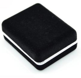 Manchetknoop black grey trio square