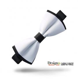 Luxe vlinderstrik Jason & Vogue wit zwart