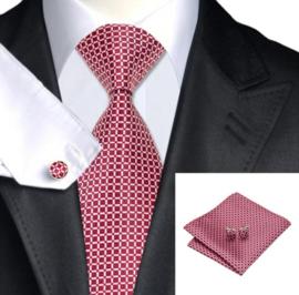 Stropdas set met pochet en manchetknopen rood wit geblokt