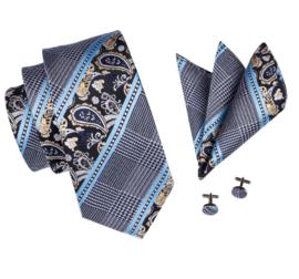 Stropdasset blue paisley Elegance