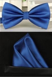 Vlinderstrik met pochet koningsblauw