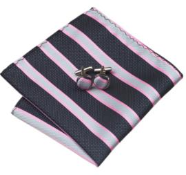 Luxe stropdas set in zwart (donkergrijs) en pink streepdessin