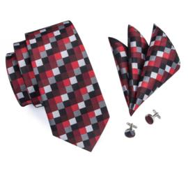 Stropdas set in rood grijs zwart blok dessin