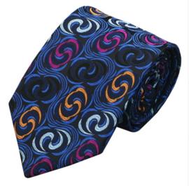 Luxe stropdas in blauw met gekleurde accenten