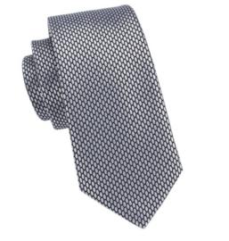 Stropdas met pochet en manchetknopen zilvergrijs Hexagon