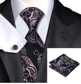Luxe stropdasset in zwart roze Paisley dessin
