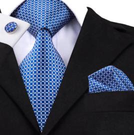 Stropdas met pochet en manchetknopen helderblauw block