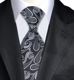 Stropdas grijs zwart in Paisley jacquard