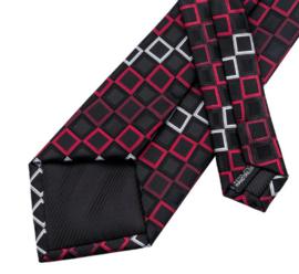 Stropdas zwart rood squares