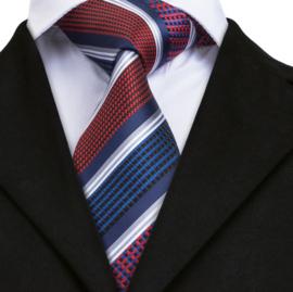 Luxe stropdas set rood blauw diagonaal