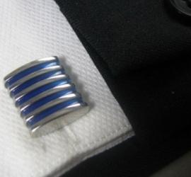 Manchetknoop Blue or Red stripes