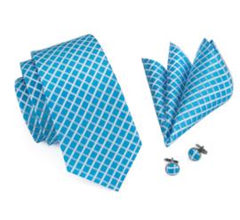 Stropdas set met manchetknopen en pochet Blue White