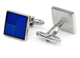 Manchetknoop vierkant Blue squares