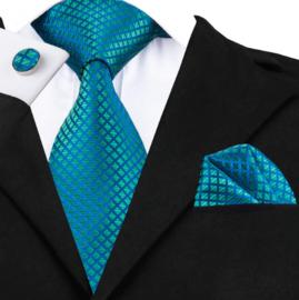 Stropdas set Shiny blue green