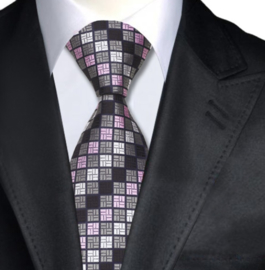 Stropdas Grey Pink square