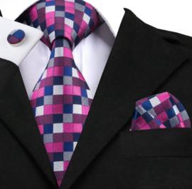 Stropdas set Pink Squares
