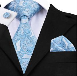 Stropdas met pochet en manchetknopen lichtblauw wit dessin