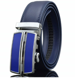 Automatische blauwe leren riem met blauwe gesp