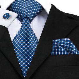 Stropdas set met manchetknopen en pochet blue block