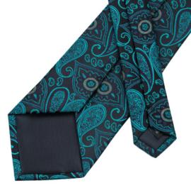 Stropdasset met manchetknopen en pochet groen zwart