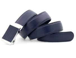 Leren riem met blauwe design gesp, automatisch verstelbaar