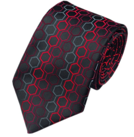 Luxe stropdas Black Grey Red Hexagon