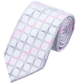 Stropdas Silverwhite pink