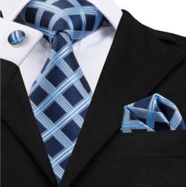 Stropdas met pochet en manchetknopen Blue block
