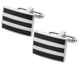 Manchetknopen black-silver stripes