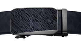 Automatische Leren riem met antraciet striped gesp