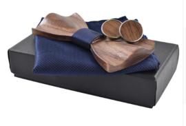 Luxe vlinderstrik hout met pochet en manchetknopen