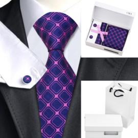Stropdas set met manchetknopen en pochet Blue Violet
