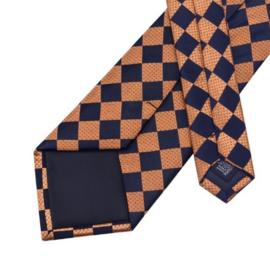 Stropdas met pochet en manchetknopen orange black