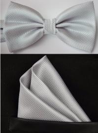 Vlinderstrik met pochet wit