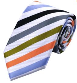 Zijden stropdas white stripe