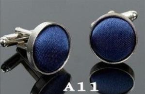 Manchetknoop zijde donkerblauw