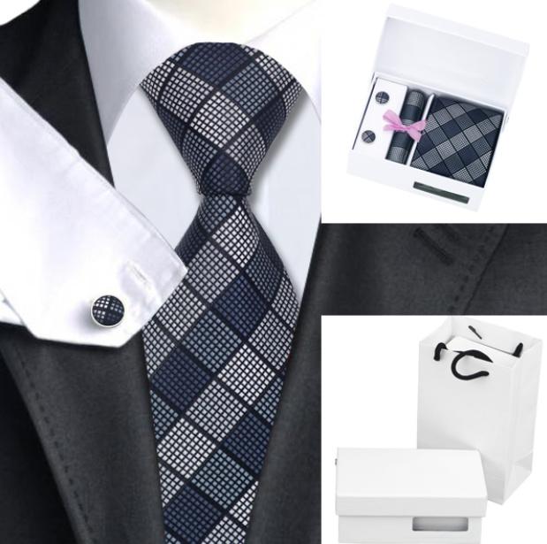 Luxe stropdasset met pochet en manchetknopen grijstinten