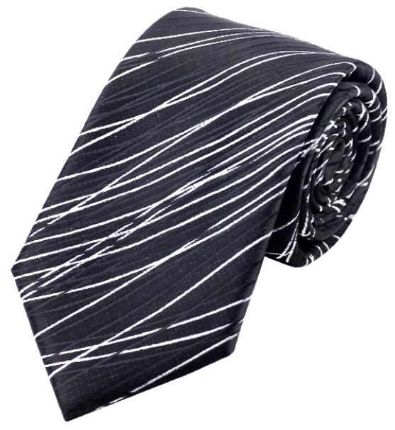 Stropdas White Stripes on Black