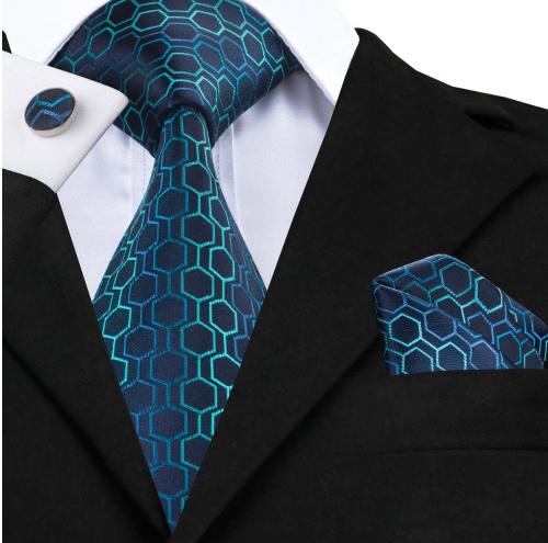 Stropdas set met manchetknopen en pochet Hexagon Blues