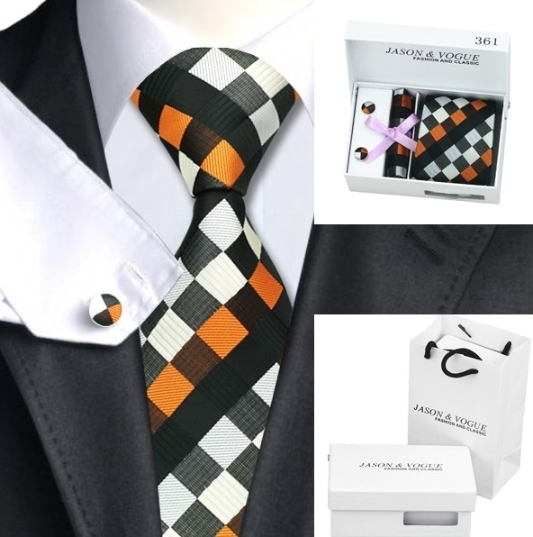 Stropdas set met manchetknopen en pochet Orange Square