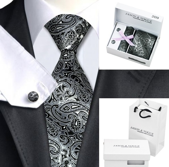 Luxe stropdasset met manchetknopen en pochet Zwart Zilvergrijs Paisley