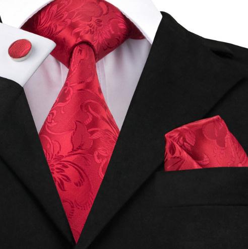 Luxe stropdas set in luxueus rood jacquard design